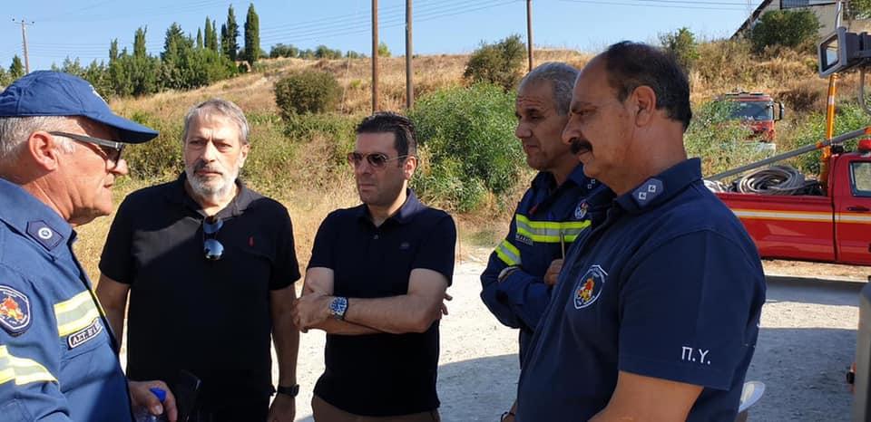 Πυροσβεστική Υπηρεσία Κύπρου – Cyprus Fire Service :Υπουργός Δικαιοσύνης και Δημόσιας Τάξεως κ. Γιώργος Σαββίδης, επισκέφθηκε εκ νέου νωρίς το πρωί τις πληγείσες περιοχές